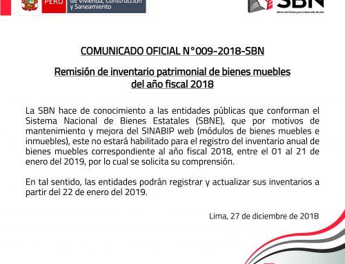 COMUNICADO OFICIAL N° 009-2018-SBN