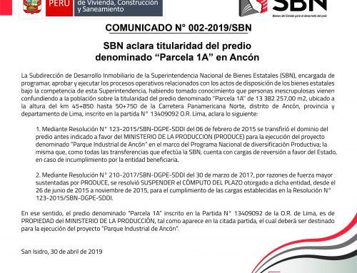 COMUNICADO OFICIAL N° 02-2019-SBN