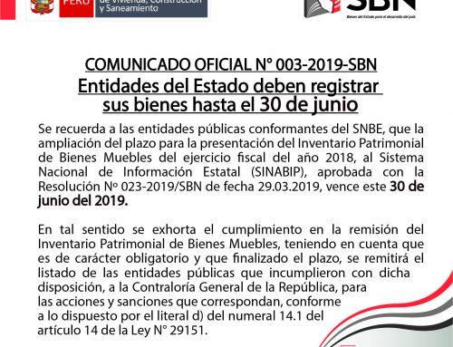 COMUNICADO OFICIAL N° 03-2019-SBN