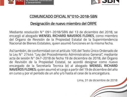 COMUNICADO OFICIAL N° 010-2018-SBN