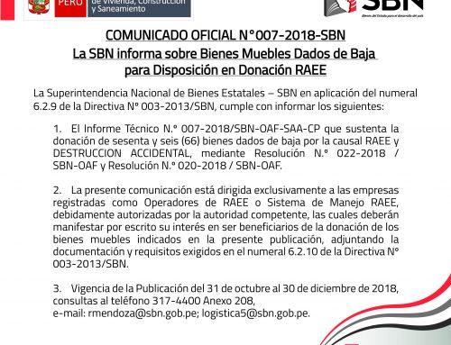 COMUNICADO OFICIAL N° 007-2018-SBN