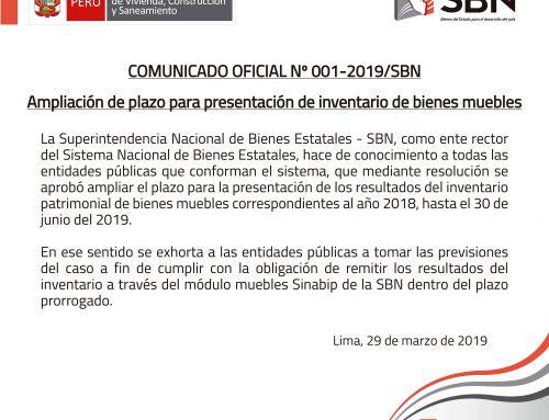 COMUNICADO OFICIAL N° 01-2019-SBN