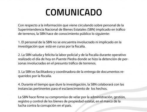 COMUNICADO OFICIAL N° 008-2018-SBN