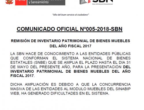 COMUNICADO OFICIAL Nº005-2018-SBN