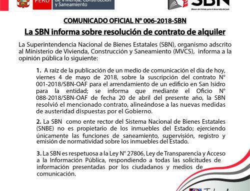 COMUNICADO OFICIAL Nº006-2018-SBN